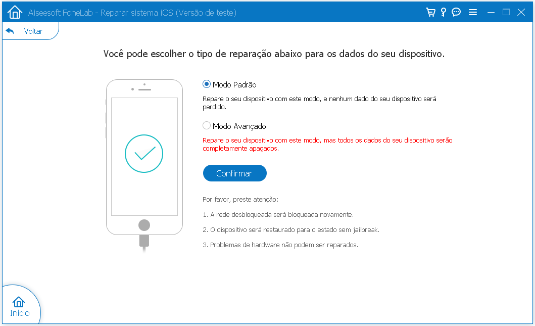 Interface FoneLab iPhone travado