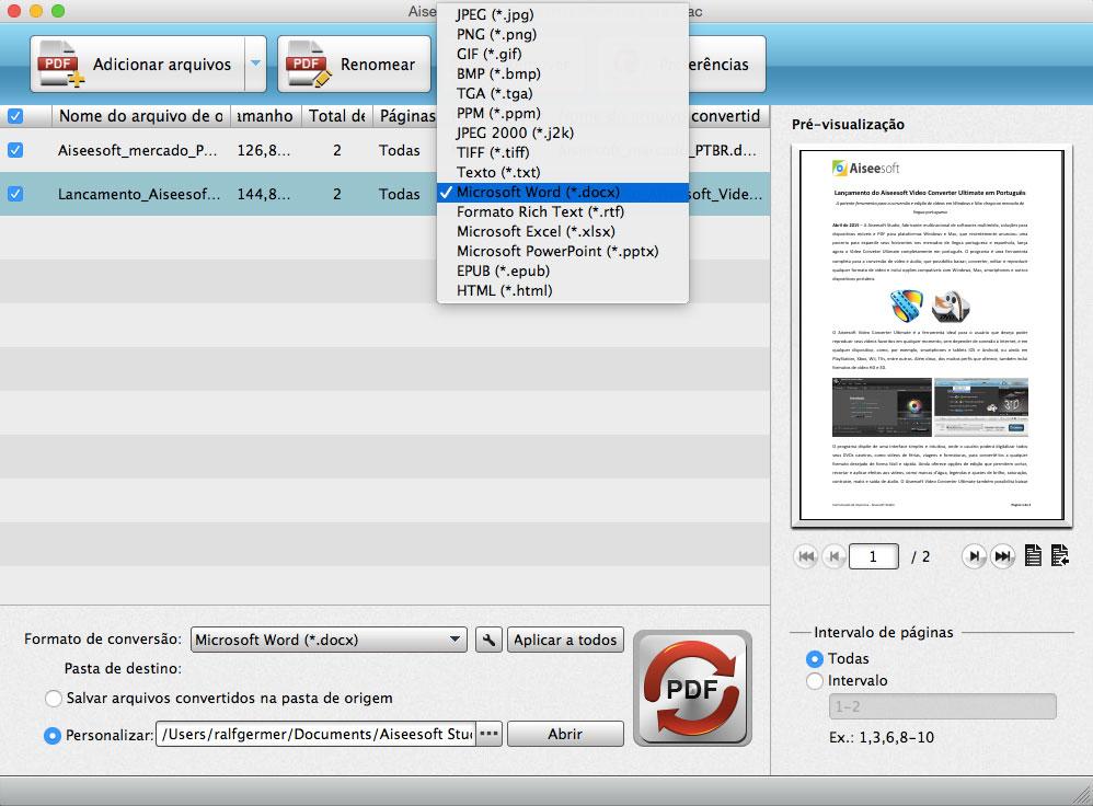 converter PDFs para o formato Word