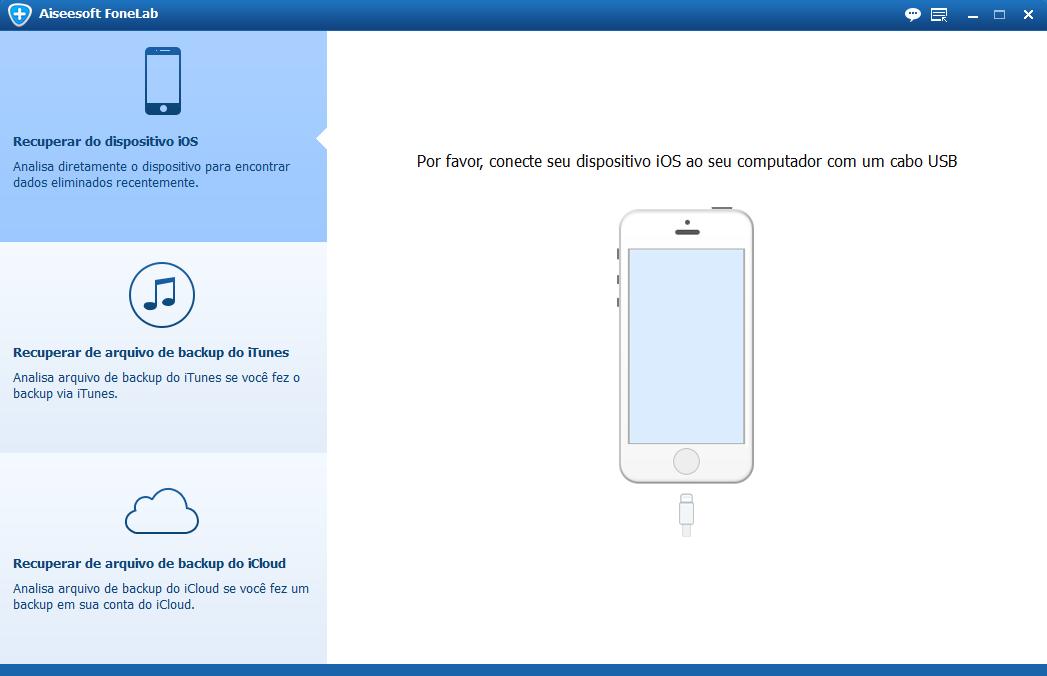 Inicie o Aiseesoft FoneLab para fazer backup de dados do iPhone