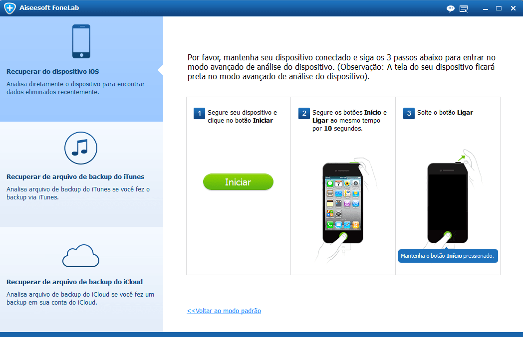 Modo DFU para recuperar fotos iPhone 4
