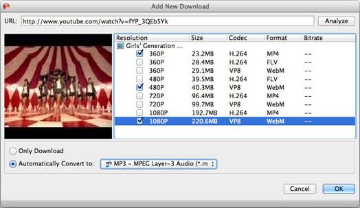 Selecione o formato MP3 para a conversão