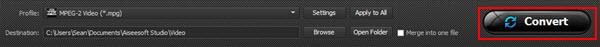 Clique em Converter MTS para MP4