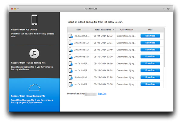 Entre em sua conta do iCloud e selecione o backup desejado