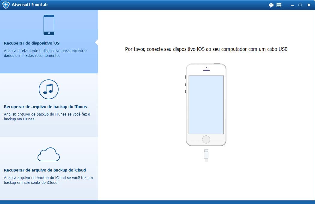 O programa reconhece seu iPhone automaticamente