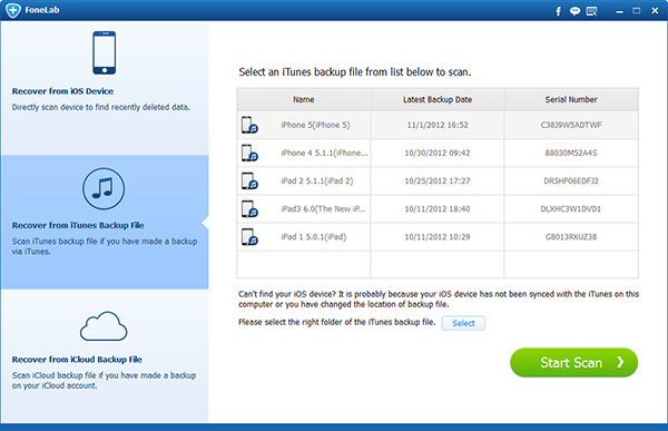 Escolha o modo Recuperar de arquivo de backup do iTunes