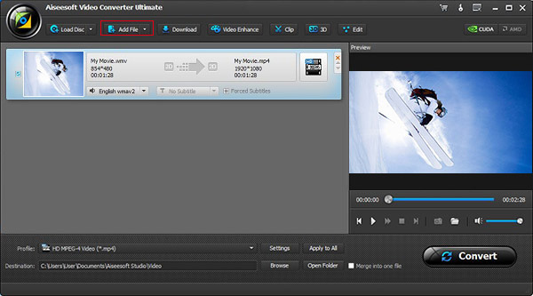 Abra o conversor de vídeo Aiseesoft Video Converter Ultimate