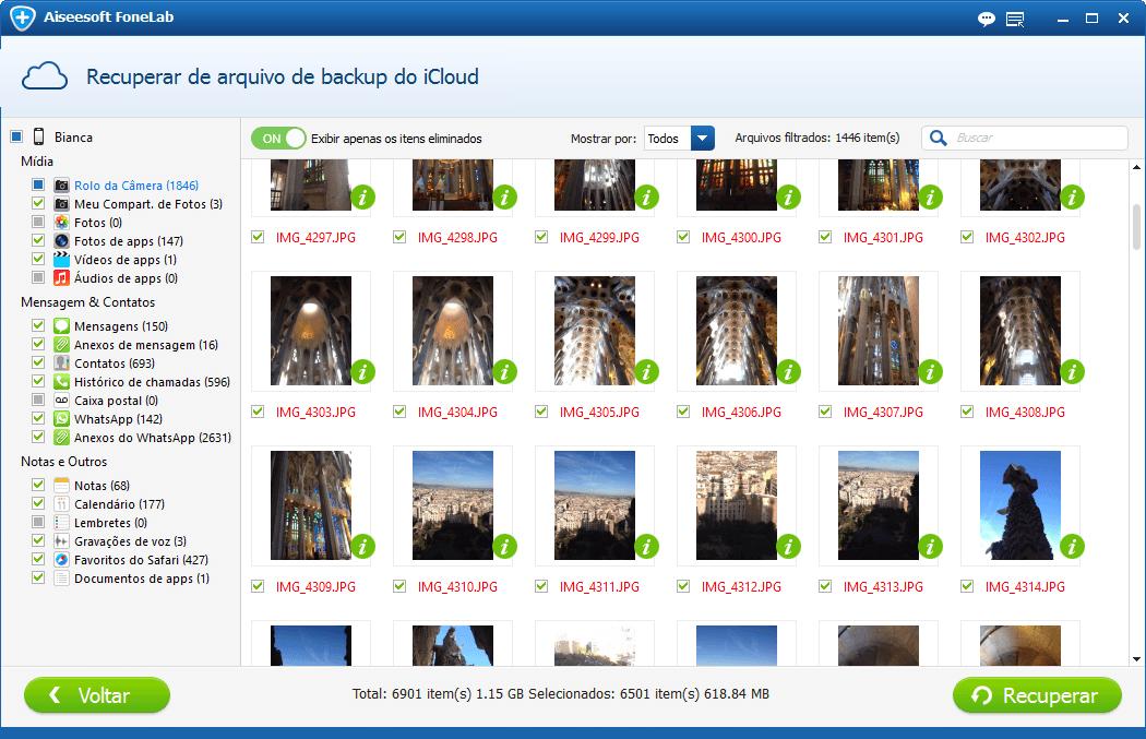 Escolha as fotos que deseja recuperar