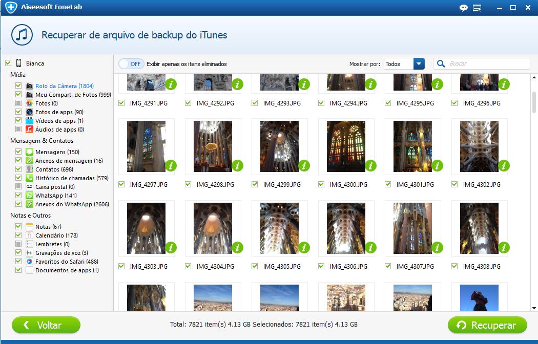 Selecione as fotos apagadas que deseja recuperar do backup do itunes