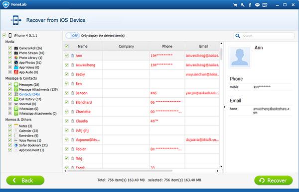 Seleccionar y recuperar contactos perdidos iPhone sin copia de seguridad