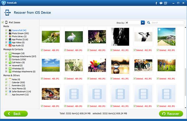 Selecione as fotos que deseja recuperar do iPad