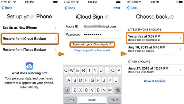 Restaurar Backup do iCloud