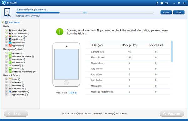 Inicie a análise de seu iPad