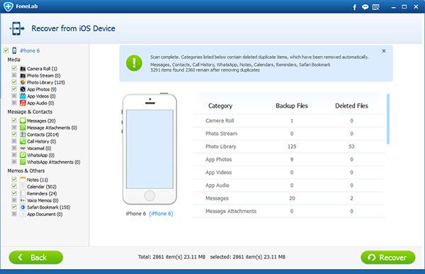 Todos os dados de seu iPhone serão mostrados