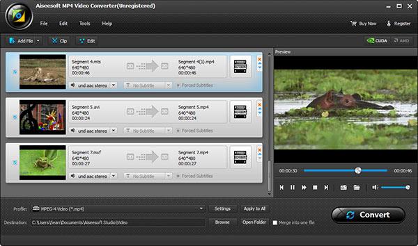 Abra seus arquivos em MP4 no Aiseesoft