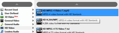 Selecione o formato HD MPEG-4 Video