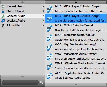 Selecione o formato MP3 na opção Perfil