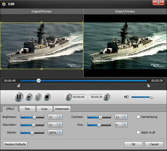 Ajuste os efeitos visuais de seu vídeo