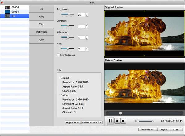 Ajuste o brilho e outros efeitos de seu vídeo