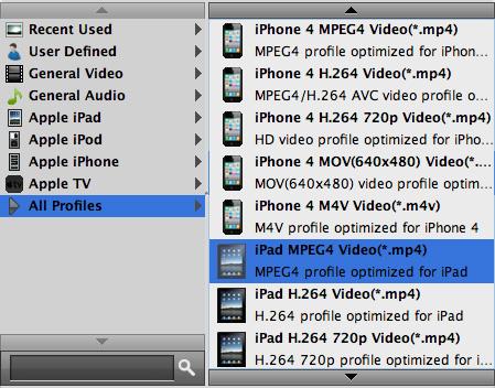 Selecione o formato desejado para seu iPad