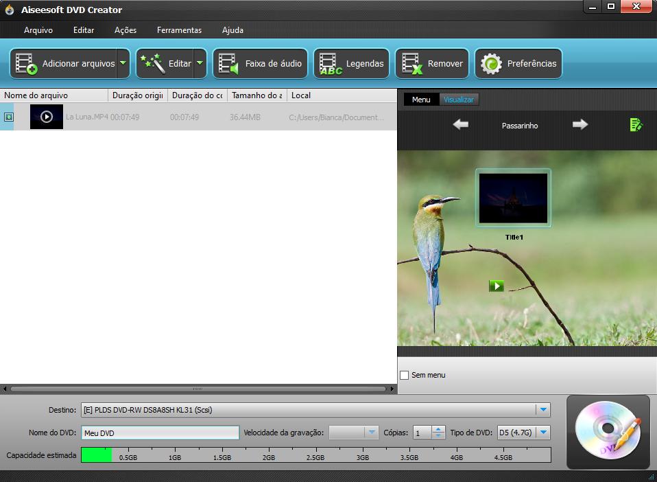 Adicione seus arquivos para converter MP4 para DVD