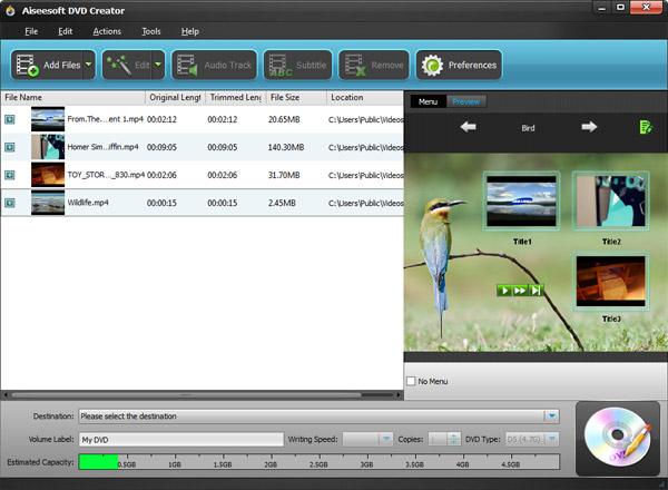 Adicione os vídeos que você deseja gravar ao programa