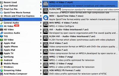 Selecione o formato MP4 na lista de perfis