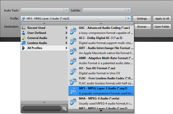 Selecione o formato MP3 na lista de perfis