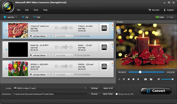 Adicione seus arquivos em MP4 ao Aiseesoft