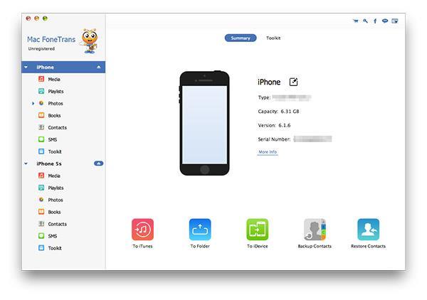 Abra o FoneTrans e conecte seu iPhone ao Mac