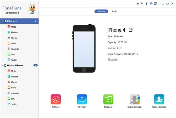 Abra o FoneTrans e conecte os iPhones ao computador