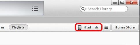 Clique no seu dispositivo quando aparecer no iTunes