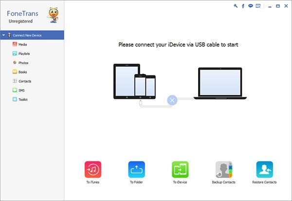 Abra o FoneTrans e conecte seu iPod ao PC