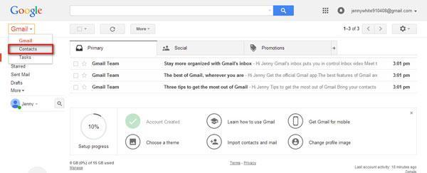 Mude o Gmail para Contatos