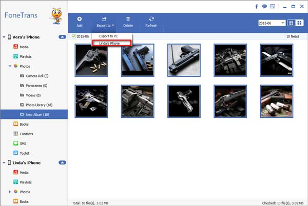 Selecione as fotos que deseja exportar