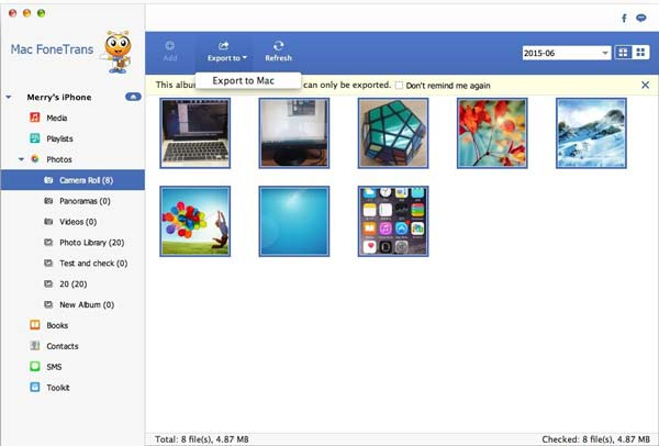 Siga as instruções para enviar fotos do iPhone para o Mac com o FoneTrans