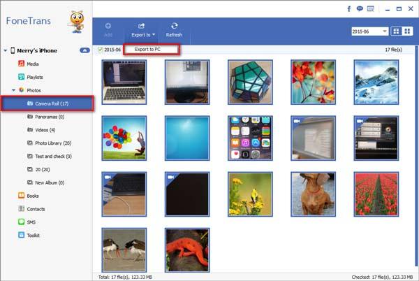Exporte suas fotos para o computador