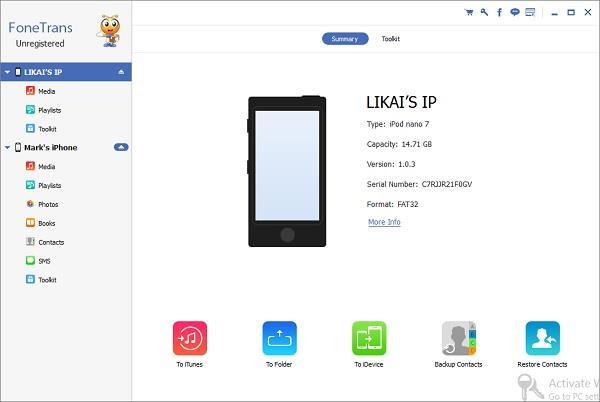 Abra o FoneTrans e conecte seus dispositivos iOS