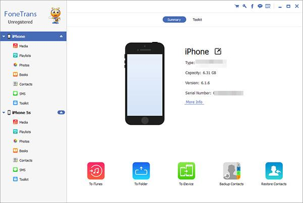 Abra o FoneTrans e conecte seus iPhones