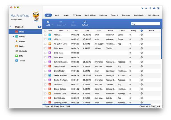 Conecte seu iPhone ao Mac e abra o FoneTrans