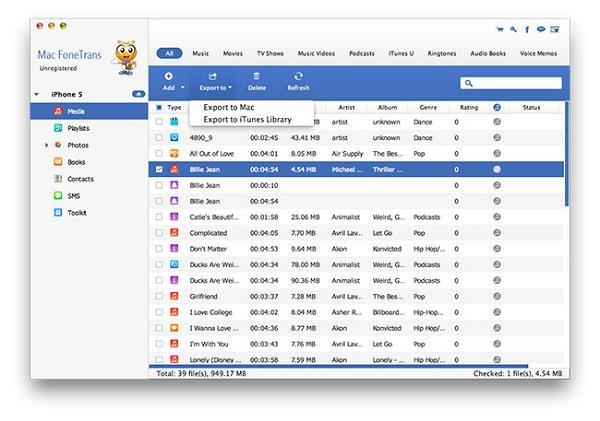 Transfira os arquivos do iPhone para o Mac