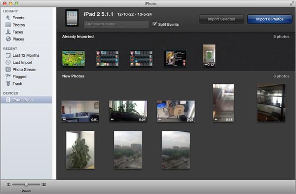 Abra o iPhoto e transfira os vídeos que gravou