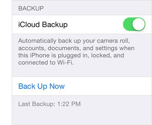 Habilite o backup do iCloud