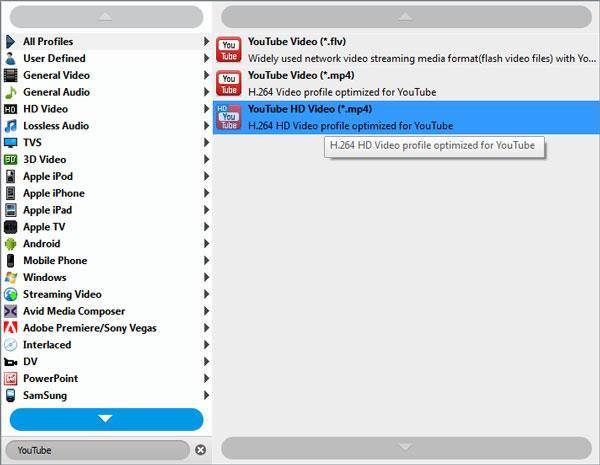 Selecione o formato MP4 para o YouTube