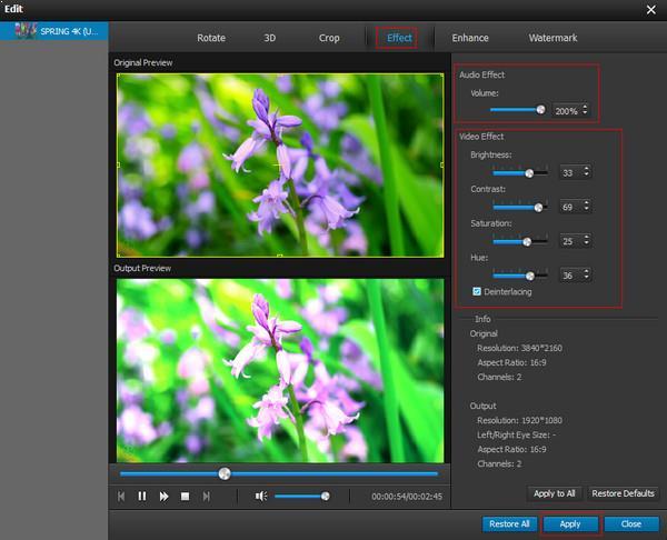 Ajuste os efeitos de áudio e vídeo
