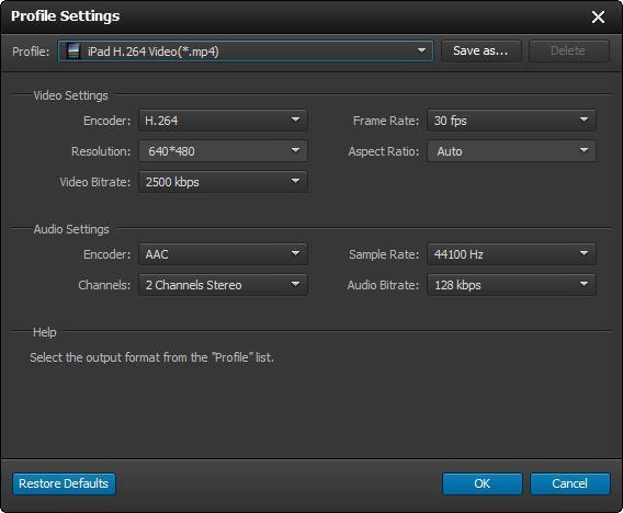 Ajuste os parâmetros de conversão do seu vídeo