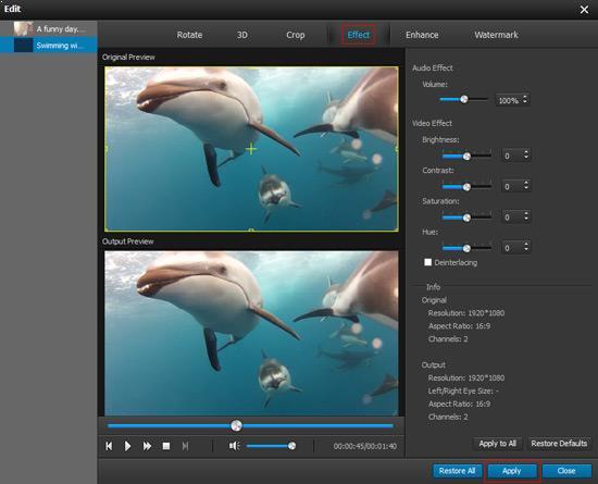 Ajustar parâmetros de áudio/vídeo