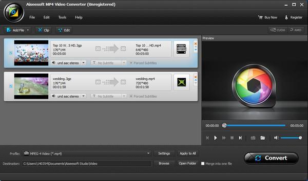 Importe seus arquivos 3GP