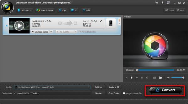 Inicie a conversão de seus vídeos em FLV para 3G2