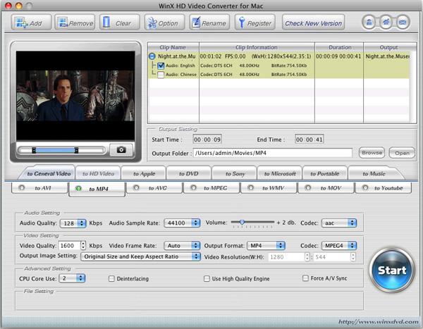 WinX HD Video Converter para Mac