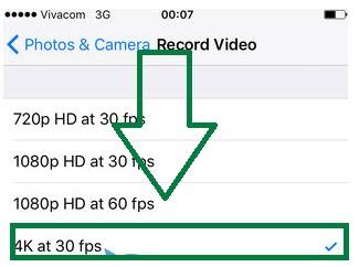Selecione a resolução de gravação 4K